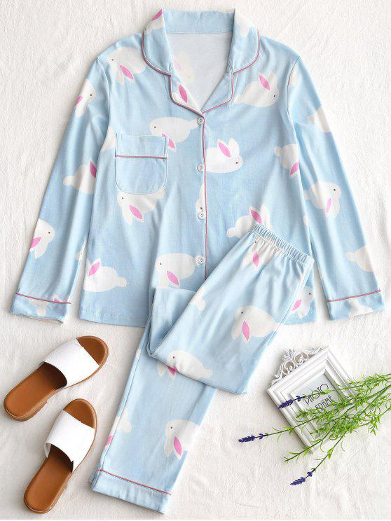 ladies Cotton Rabbit Graphic Pajamas Set - LIGHT BLUE L
