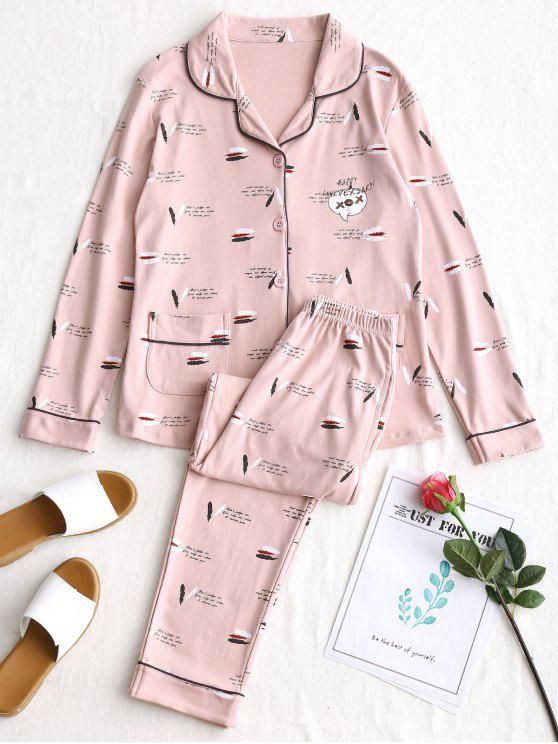 outfits Feather Graphic Pajamas Set - PINK 2XL