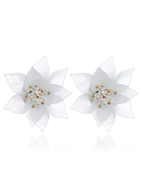 latest Acrylic Floral Pattern Stud Earrings - WHITE