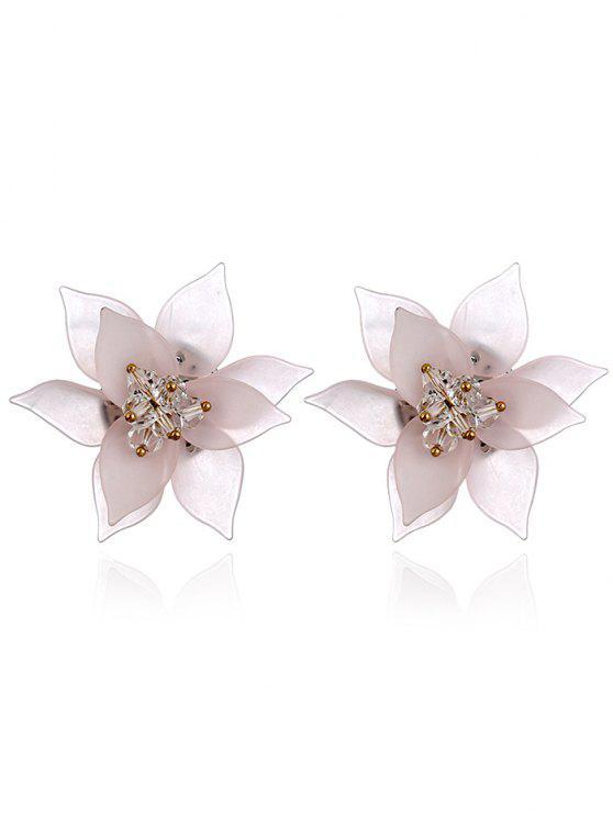 Orecchini Decorati A Fiore In Acrillico Vintage - Rosa