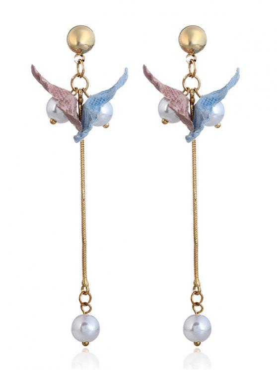 Faux Pearl Fringed Drop Earrings - Azul e Rosa