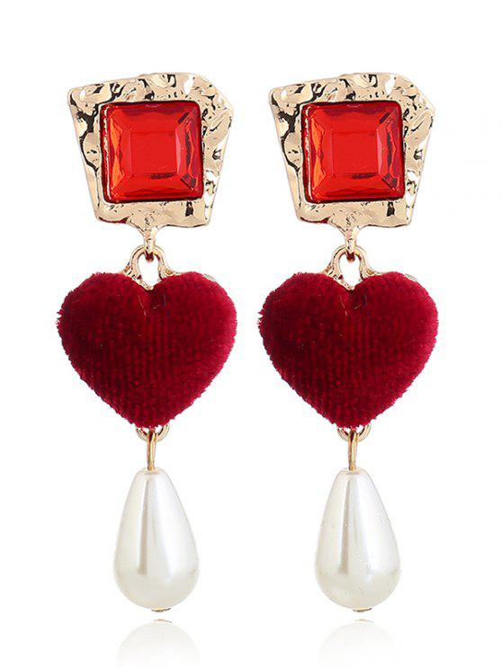 unique Romantic Heart Faux Pearl Drop Earrings - RED