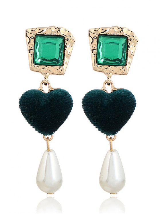 Brincos românticos de coração com falso pérola - Verde