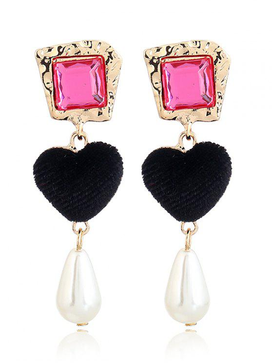 womens Romantic Heart Faux Pearl Drop Earrings - BLACK + ROSE RED