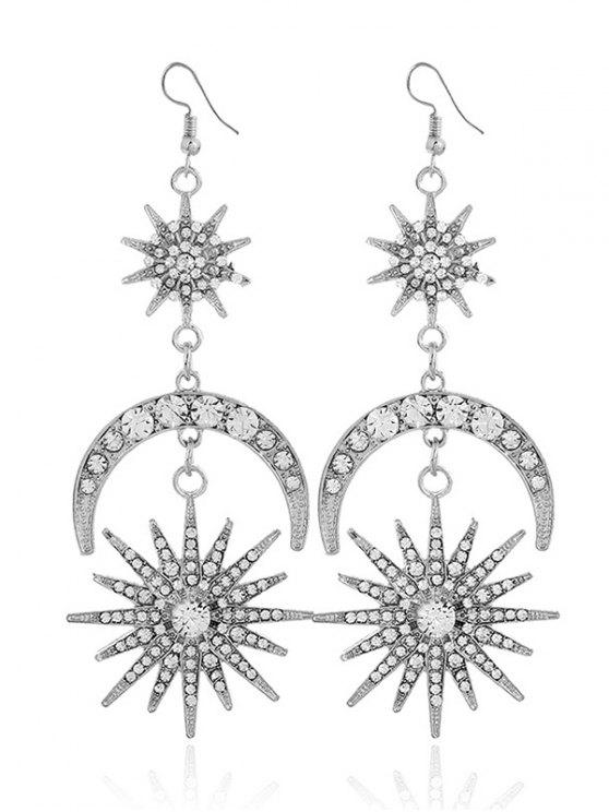 Rhinestone Inlay Star Moon Hook Earrings - Branco
