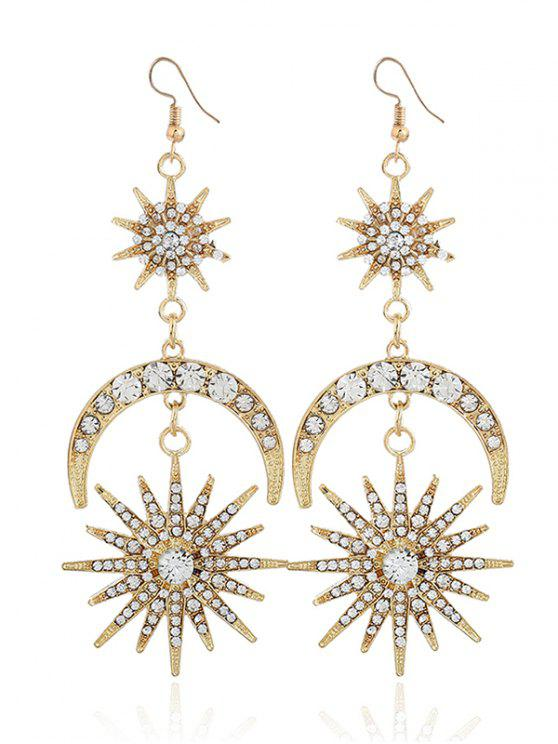 women's Rhinestone Inlay Star Moon Hook Earrings - GOLDEN