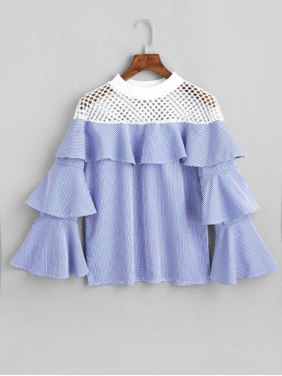 ladies Fishnet Panel Tiered Sleeve Checked Blouse - BLUE M