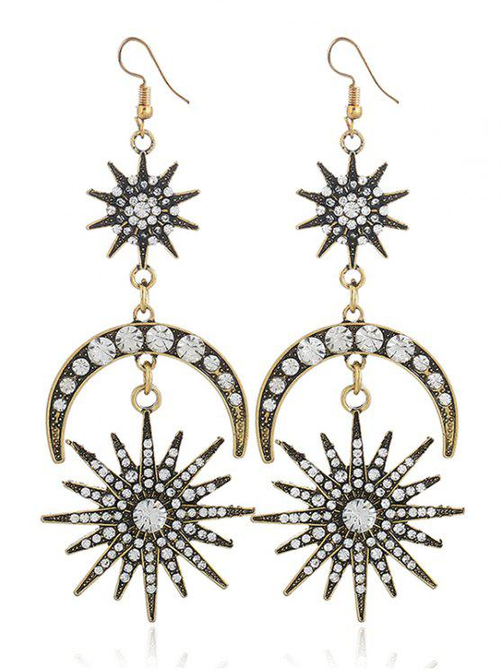 Rhinestone Inlay Star Moon Hook Pendientes - Bronceado