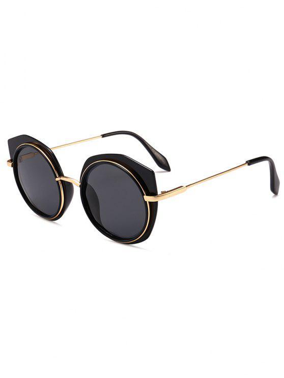 new Anti-fatigue Metal Frame Eyebrow Round Sunglasses - DOUBLE BLACK