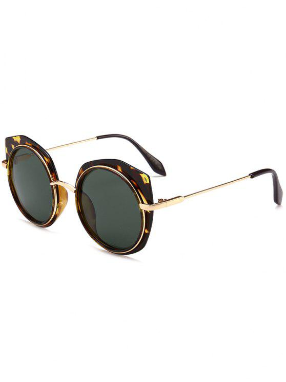 hot Anti-fatigue Metal Frame Eyebrow Round Sunglasses - DARK GREEN CAMOUFLAGE