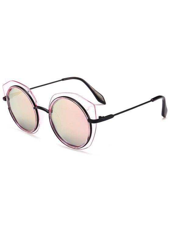 Anti-fadiga Metal Frame Eyebrow Round Gafas de sol - Rosa