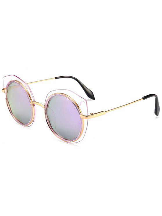 shops Anti-fatigue Metal Frame Eyebrow Round Sunglasses - PURPLE