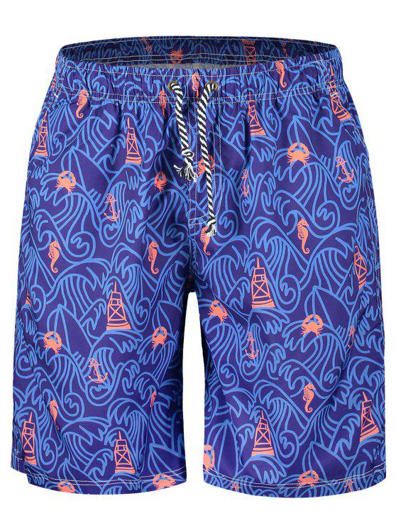 affordable Drawstring Printed Boardshorts - VIOLET L