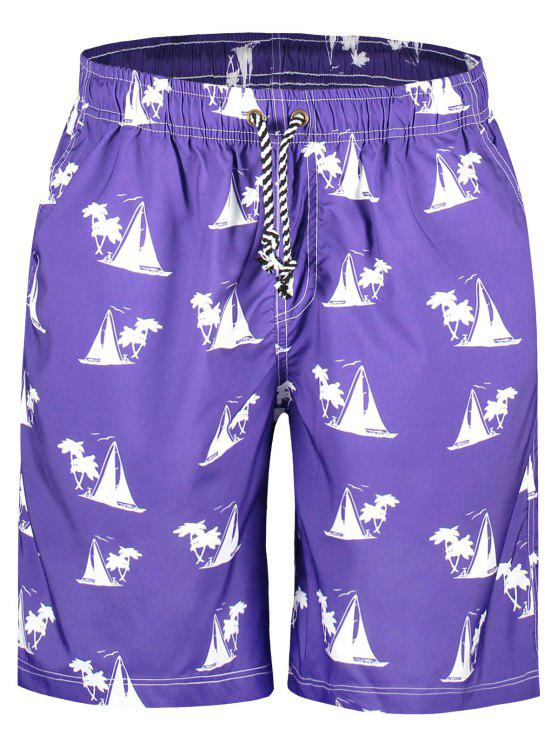 trendy Sailboat Print Board Shorts - PURPLE 2XL