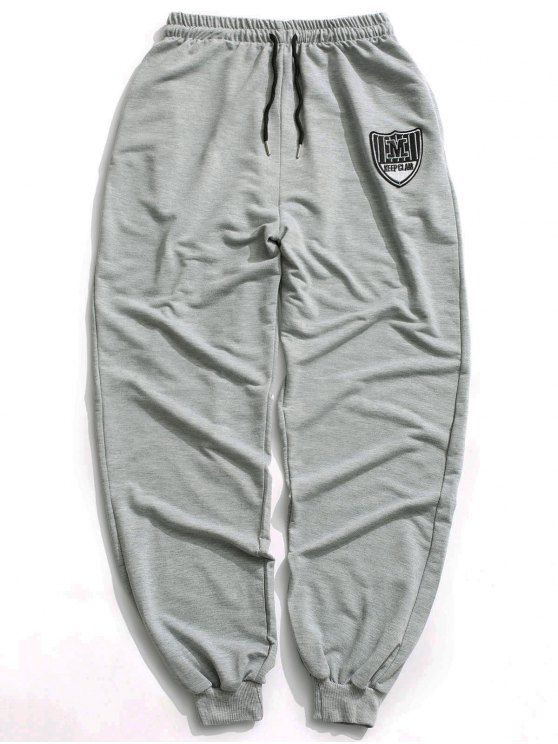 hot Patch Drawstring Jogger Pants - GRAY L