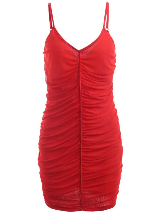 fashion Ruched Mesh Slip Dress - RED XL
