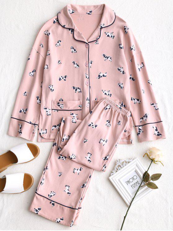 Baumwollhunde-Grafik-Pyjama-Set - Pink L