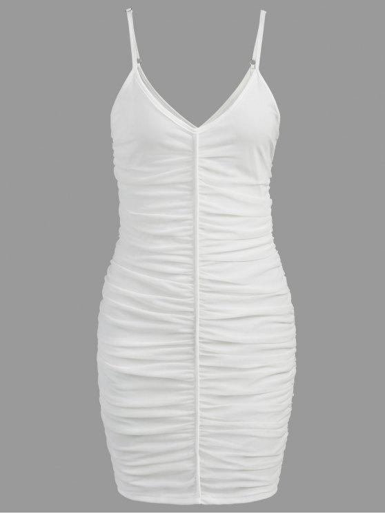 ladies Ruched Mesh Slip Dress - WHITE L
