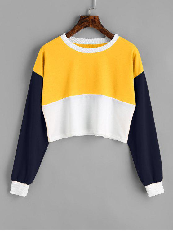fashion Contrast Crop Sweatshirt - YELLOW S