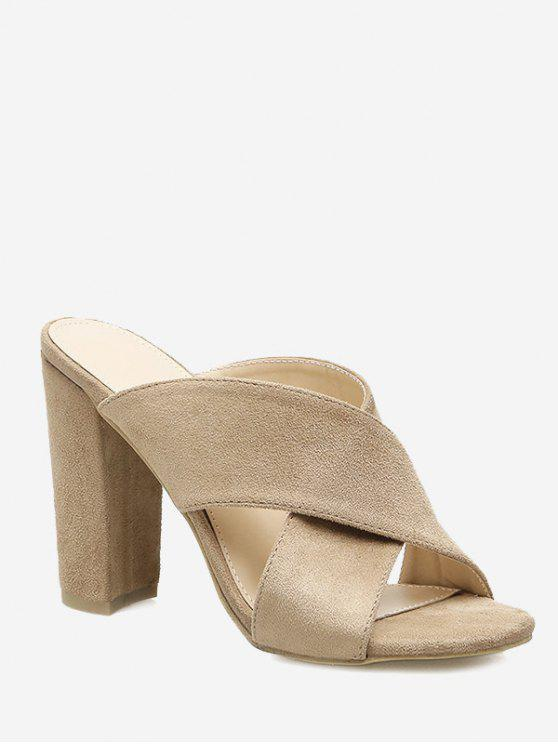Bloco Heel Criss Cross Sandals - Damasco 37