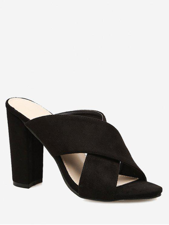 affordable Block Heel Criss Cross Sandals - BLACK 39