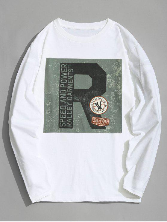 latest Graphic Full Sleeve T-shirt - WHITE 3XL