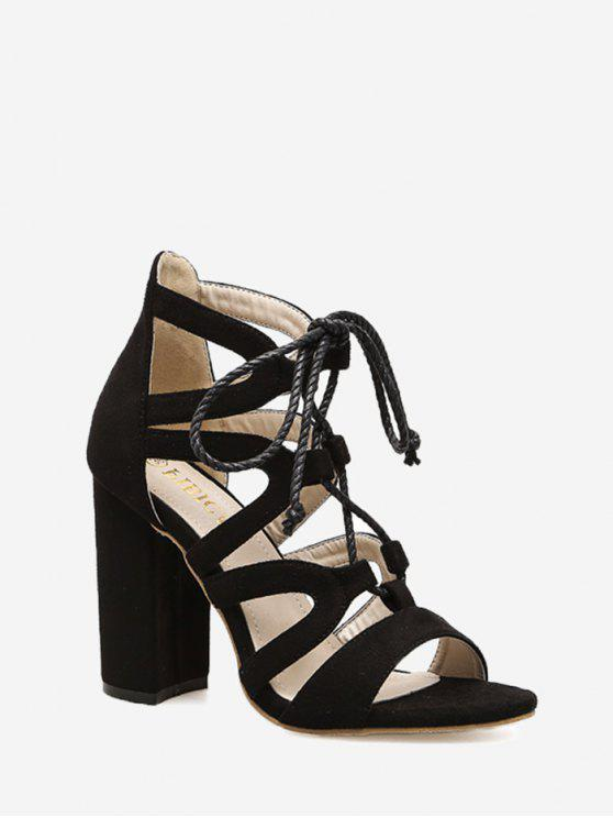 ladies Strappy Block Heel Sandals - BLACK 36