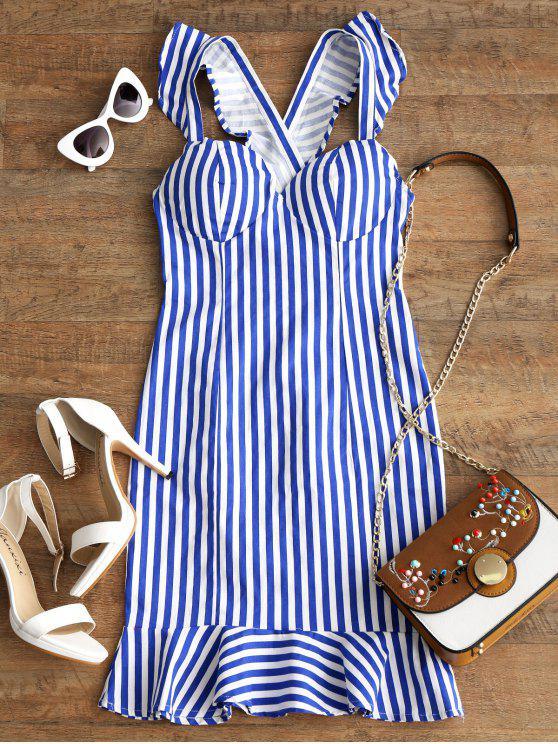 women's Stripes Criss Cross Ruffle Mini Dress - STRIPE L