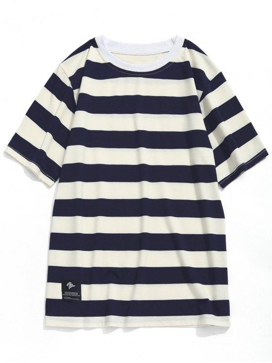 T-shirt Ras du Cou à Rayures - Bleu Marine  + Blanc 2XL