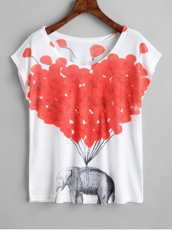 Camiseta con estampado de elefante y estampado de elefantes - Blanco Única Talla