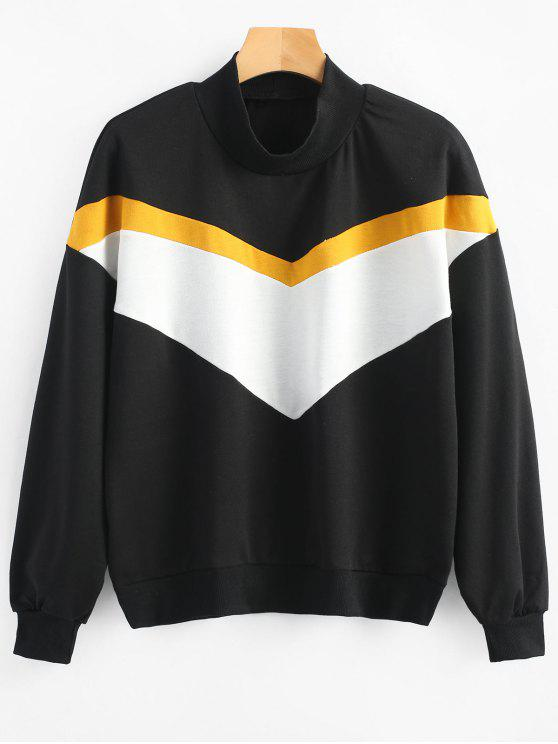 hot High Neck Contrast Sweatshirt - BLACK M