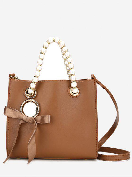 chic Faux Pearl Eyelet Bowknot Handbag - BROWN