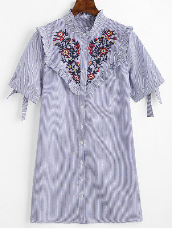 hot Floral Patched Ruffles Striped Shift Dress - BLUE M