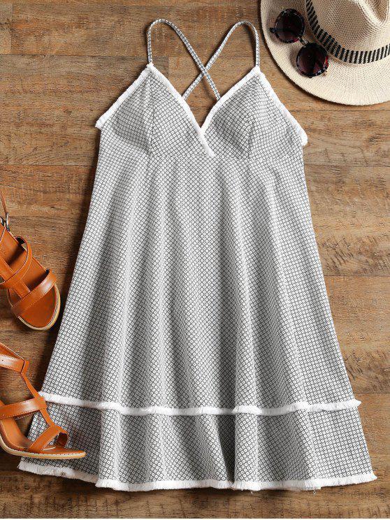 fancy Printed Empire Waist Tassels Cami Dress - BLACK WHITE M