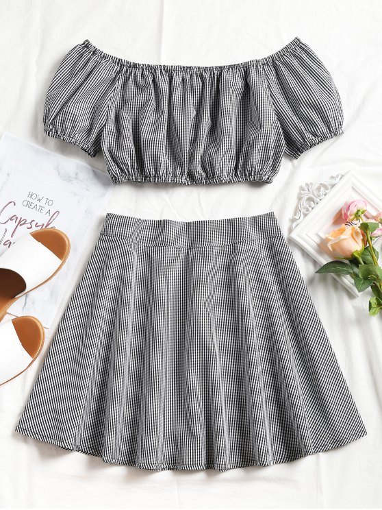fashion Plaid Off Shoulder Top and Mini Skirt Set - BLACK L