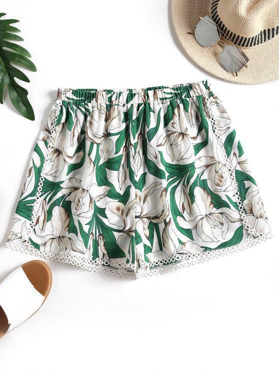 Pantalones cortos con estampado floral de crochet - Floral M