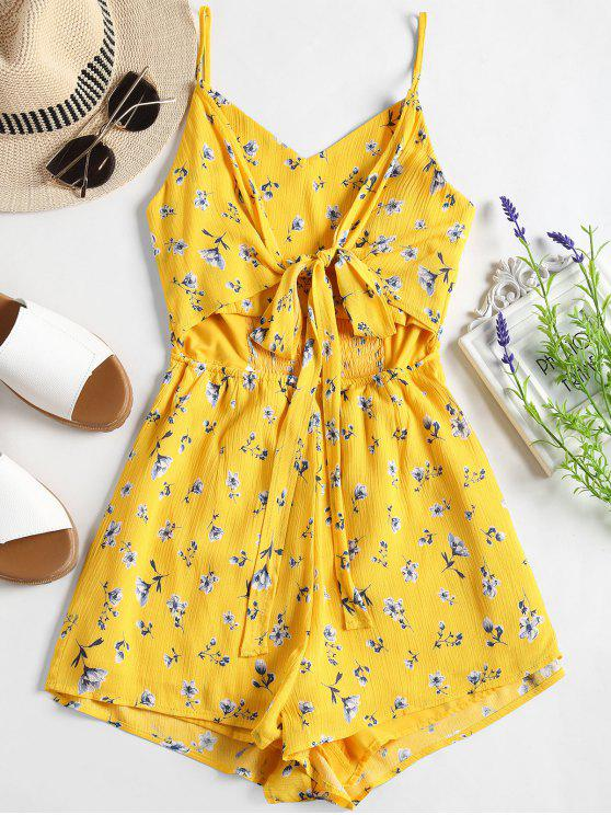 dcd55b4bd551 27% OFF  2019 Smocked Cut Out Floral Cami Romper In YELLOW