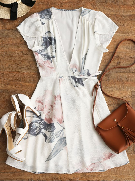 fancy Floral Beach Wrap Mini Dress - WHITE L