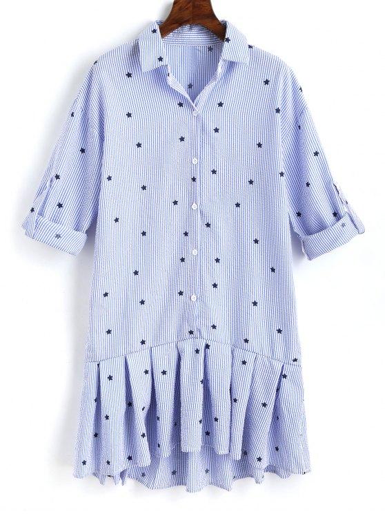 womens Star Ruffle Stripes Shirt Dress - LIGHT BLUE S