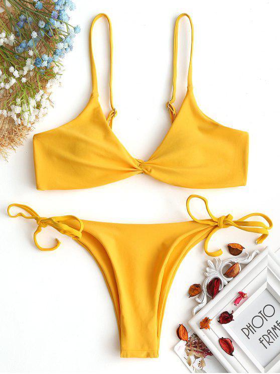 Conjunto de bikini de cadena delantera Cami Twist - Jengibre XL