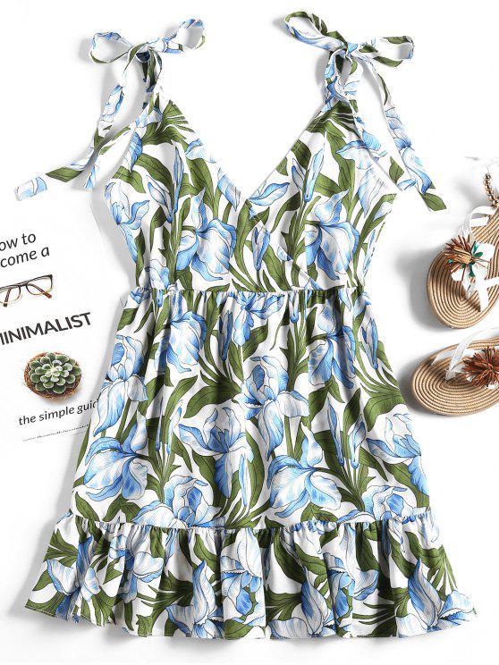 womens Floral Print High Waist Ruffles Dress - FLORAL L