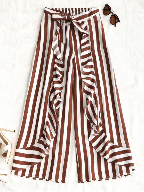 sale Ruffles Stripes Wide Leg Pants - STRIPE S
