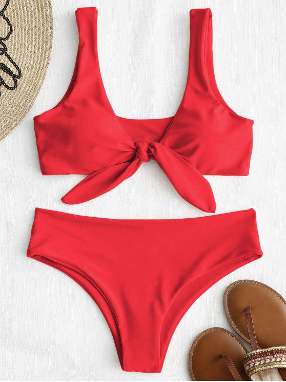 trendy Front Knot Padded Bikini Set - BRIGHT RED M