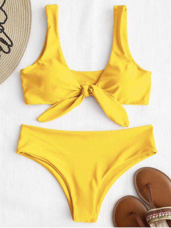fancy Front Knot Padded Bikini Set - YELLOW L