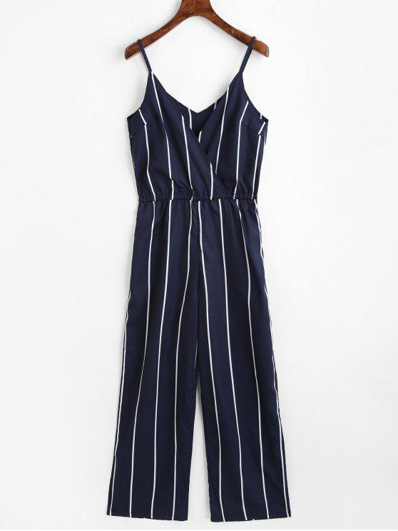 lady Striped Surplice Cami Jumpsuit - PURPLISH BLUE XL