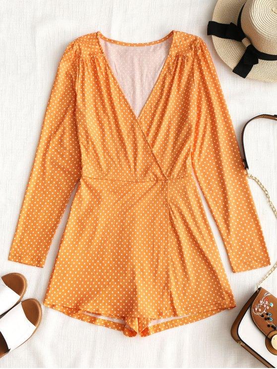 outfit Long Sleeve Overlap Polka Dot Romper - ORANGE YELLOW XL