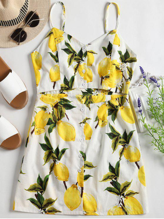best Lemon Print Cut Out Cami Dress - WHITE XL