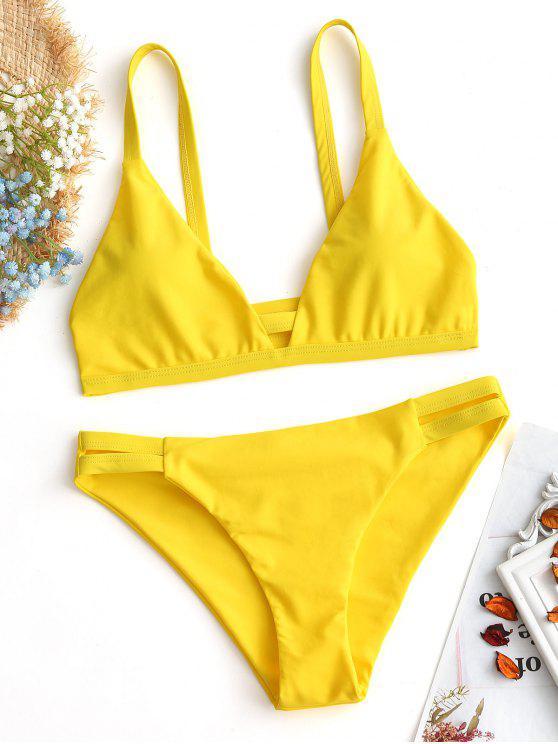 women Ladder Cut Cami Ruched Bikini - YELLOW S