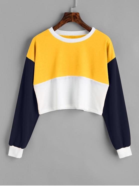 fashion Contrast Crop Sweatshirt - YELLOW S
