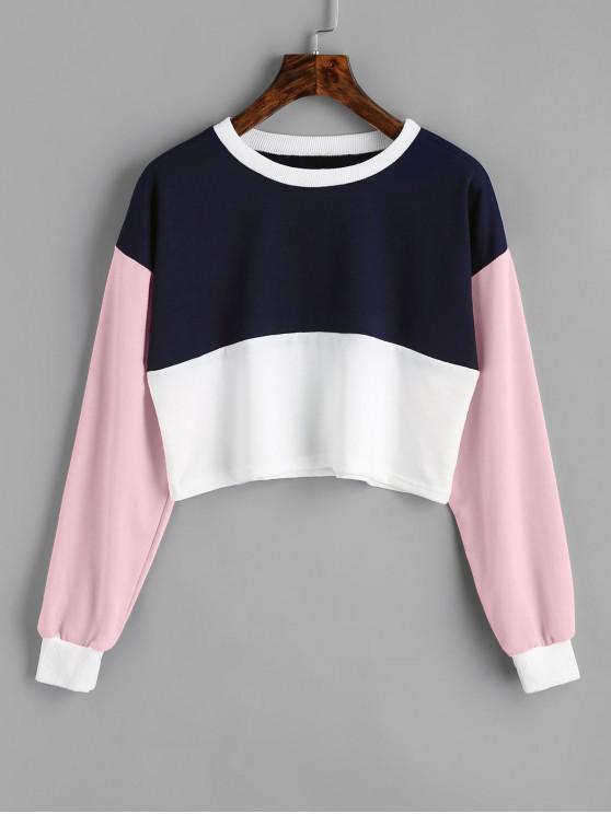 shops Contrast Crop Sweatshirt - LIGHT PINK S